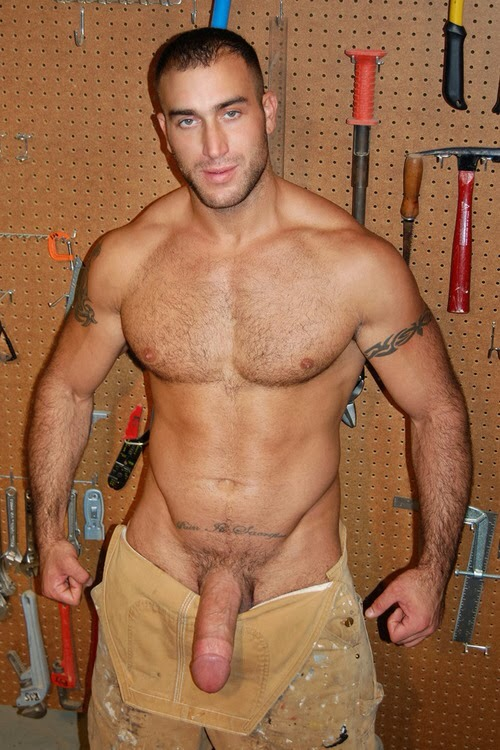 Nude male construction workers